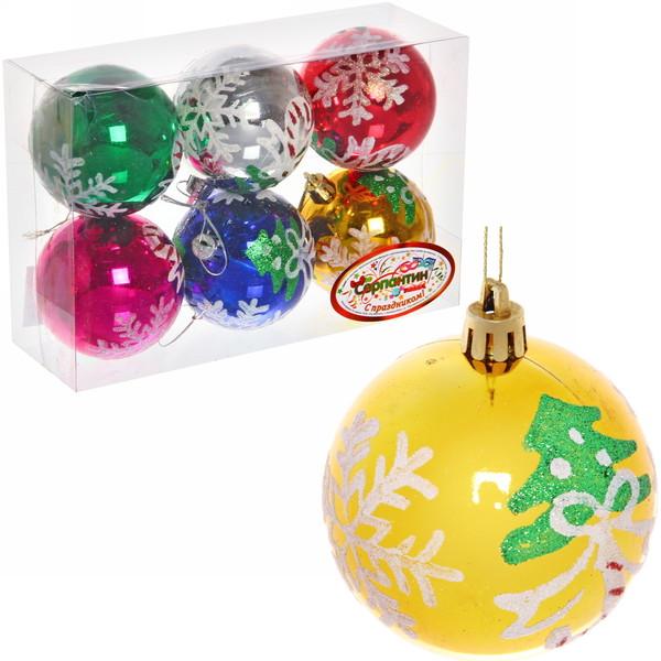 Новогодние шары ″Рождество″ 7см (набор 6шт.) купить оптом и в розницу