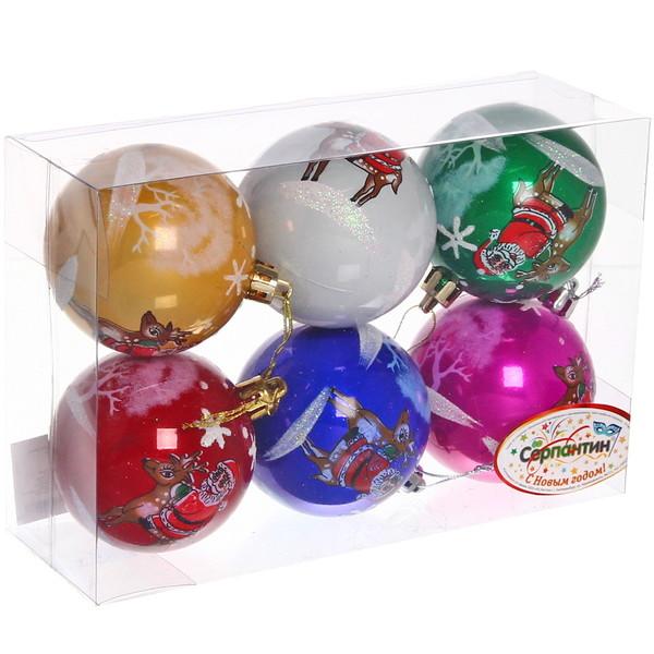 Новогодние шары ″Дед Мороз на олени″ 7см (набор 6шт.) купить оптом и в розницу
