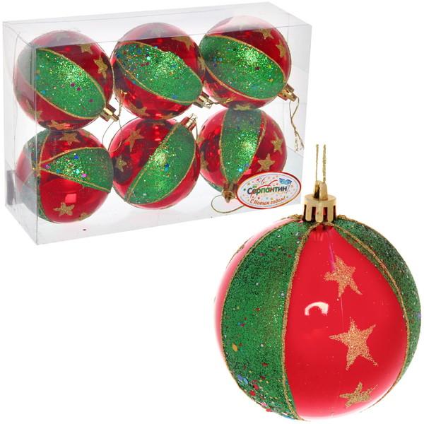 Новогодние шары ″Рождественская звезда″ 8см (набор 6шт.) купить оптом и в розницу