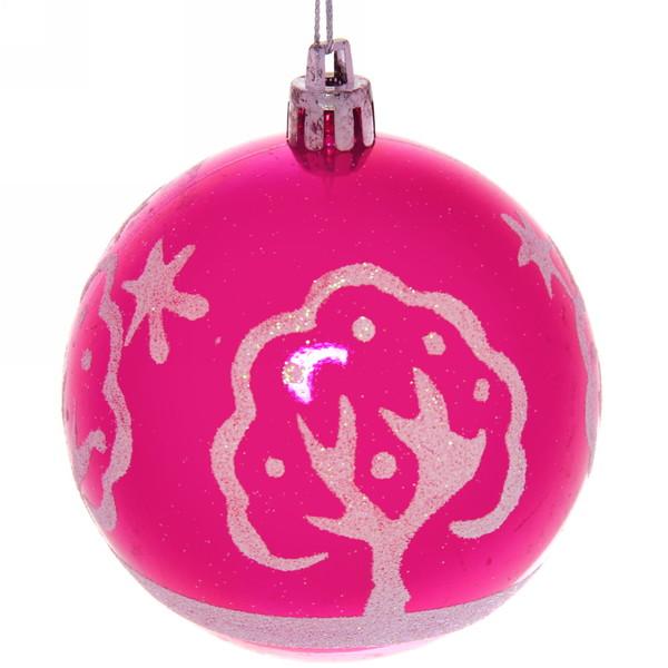 Новогодние шары ″Заснеженое дерево″ 8см (набор 6шт.) купить оптом и в розницу