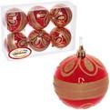 Новогодние шары ″Рубин.Золотая роспись″ 8см (набор 6шт.) купить оптом и в розницу