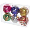 Новогодние шары ″Снежный узор листок″ 8см (набор 6шт.) купить оптом и в розницу