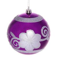 Новогодний шар ″Фиолетовый цветок″ 10см купить оптом и в розницу