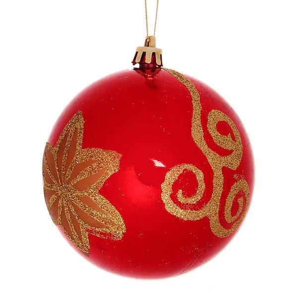 Новогодний шар ″Золотой цветок″ 10см купить оптом и в розницу