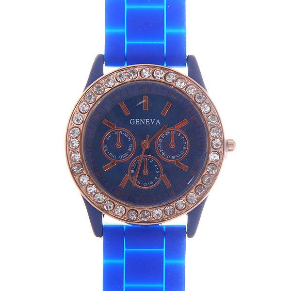 Часы наручные на силиконовом ремешке со стразами Женева, цвет синий купить оптом и в розницу