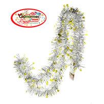 Мишура новогодняя 2 метра 6см ″Звездочки″ серебро, желтый купить оптом и в розницу