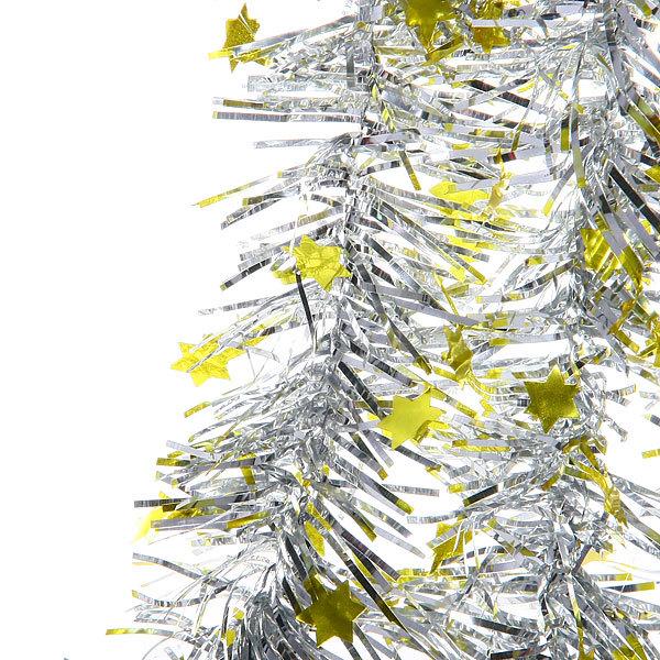 Мишура 2м 6см ″Звездочки″ серебро, желтый купить оптом и в розницу
