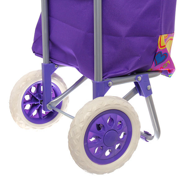 Тележка хозяйственная с сумкой (96*36*33см, колеса 16см,грузоподъемность до 30 кг) сердечки ST-885 купить оптом и в розницу