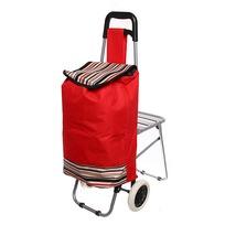 Тележка хозяйственная с сумкой и откидным стулом (90,5*37*56см, колеса 16 см) полоски ST-837A купить оптом и в розницу