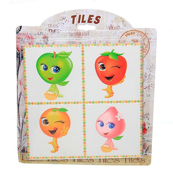 Подставка керамическая 18,5*18,5 см ″Веселые фрукты″ на картонке купить оптом и в розницу