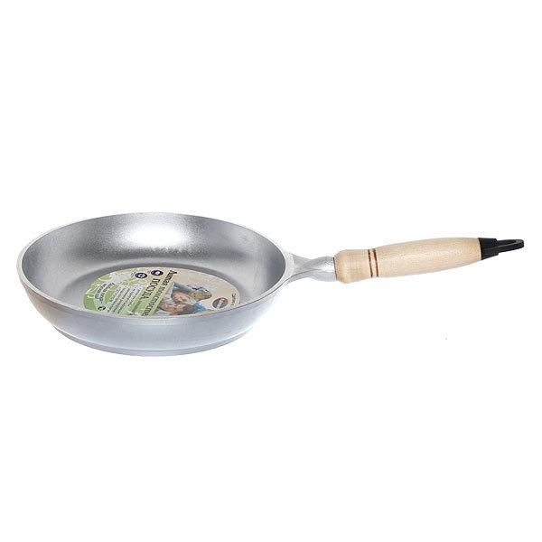 Сковорода 22 см литой алюминий со съемной ручкой из дерева КМ-с229 купить оптом и в розницу