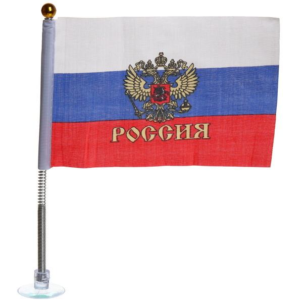 Флаг триколор/герб 10х15 см (на присоске с пружиной) купить оптом и в розницу