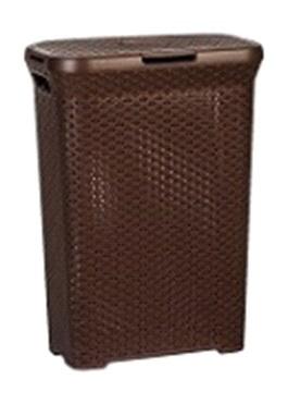 Корзинка плетенная узкая 55 л с крышкой (2301) коричневый 450 х 270 х 610 *6 купить оптом и в розницу