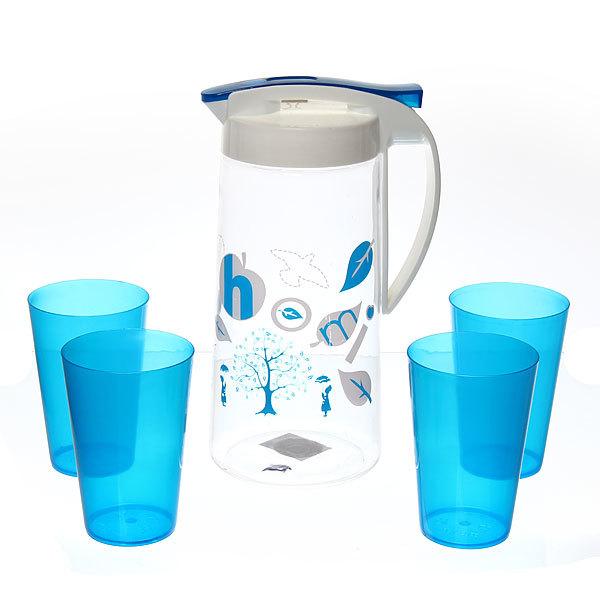 Набор питьевой 5 предметов ″Завиток″: кувшин 1,5л, 4 стакана HW-1017 купить оптом и в розницу