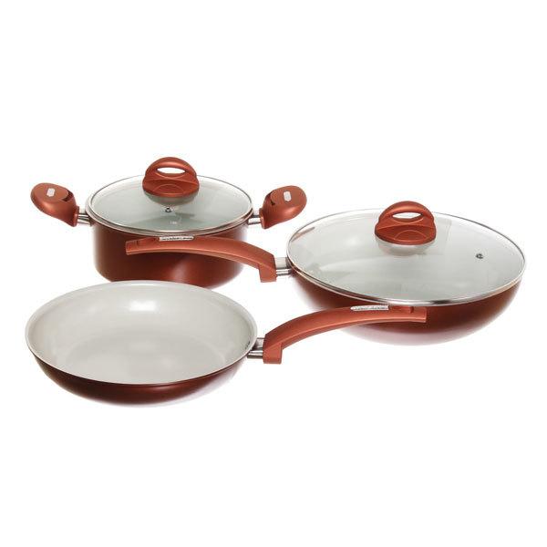 Набор посуды 5 предметов (кастрюля 2,5л 20см, сковорода 24см, сковорода 28см с керамическим покрытием) TFPS-801 купить оптом и в розницу