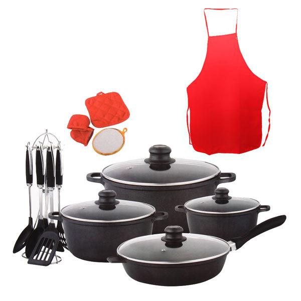 Набор кухонный 20 предметов (3 кастрюли 2.5, 3.5, 4.5л, сковорода 28 см, 4 прихватки, фартук, кух.приборы 6 шт. на стойке) купить оптом и в розницу
