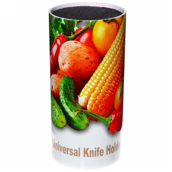 Подставка для ножей ″Овощи″с черным наполнителем h22см купить оптом и в розницу