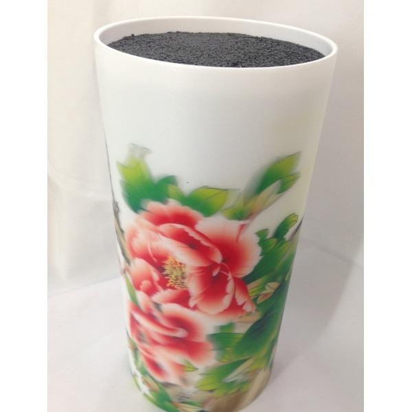 Подставка для ножей ″Цветы″ 3D с черным наполнителем h22см купить оптом и в розницу