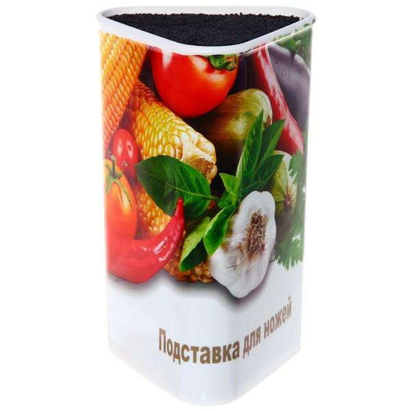 Подставка для ножей ″Овощи″ с черным наполнителем h22см треугольник купить оптом и в розницу