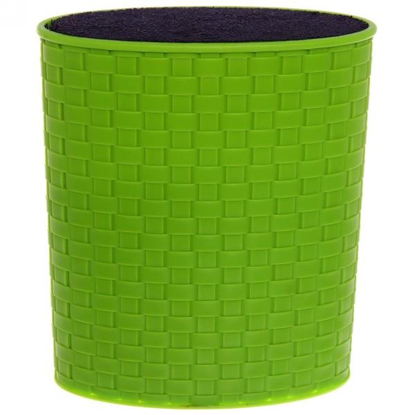 Подставка для ножей ″Плетенка″ с черным наполнителем h21м зеленая купить оптом и в розницу