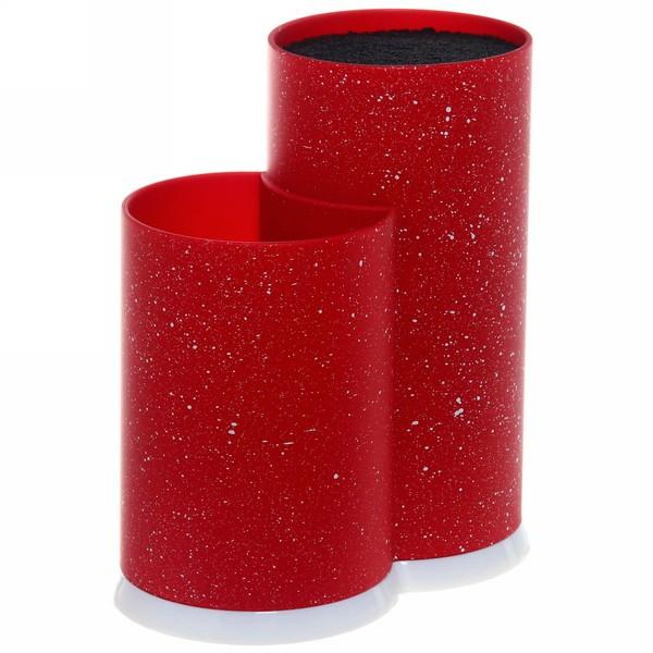 Подставка для ножей и кухонных принадлежностей ″Мрамор″ с черным наполнителем h22,5см красная купить оптом и в розницу