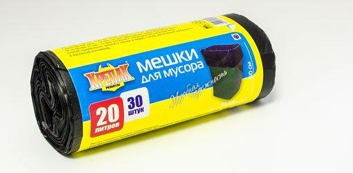 пакеты д/мусора в рулоне 20л/30шт. (крепак) 1*50 купить оптом и в розницу