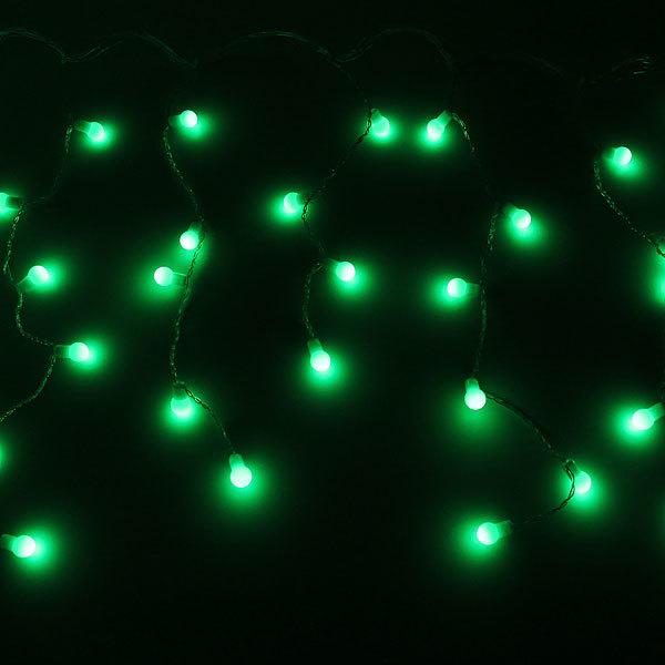 Бахрома светодиодная 3 х 0,3/0,4/0,5м, 96 ламп LED, Шар, Зеленый,без реж,прозр.пров,с возм.соед купить оптом и в розницу