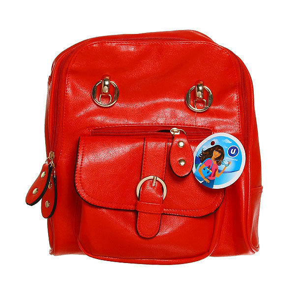 Рюкзак из искусственной кожи женский ″Ультра-Мода″ 6 карманов, красный цвет 30*25*7,5 020-1 купить оптом и в розницу
