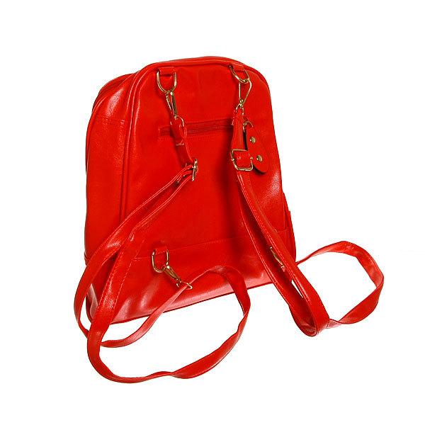 Рюкзак из искусственной кожи женский ″Ультра-Мода″ 6 карманов, красный цвет 30*25*7,5 купить оптом и в розницу