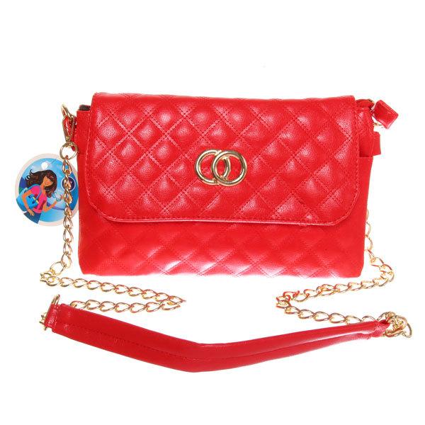 Сумка женская конверт ″Ультра-Мода″ на цепочке 4 кармана, красный цвет 25*16*4 купить оптом и в розницу