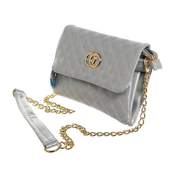 Сумка женская конверт ″Ультра-Мода″ на цепочке 4 кармана, серебр. цвет 25*16*4 купить оптом и в розницу