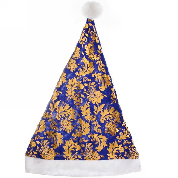 Колпак новогодний, синий ″Золотой узор″, 27*34см купить оптом и в розницу