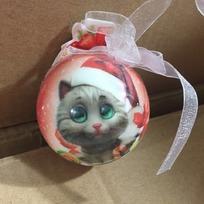 Ёлочный шар пластик с бантом 6 см ″Счастья в Новом году!″ Котенок купить оптом и в розницу