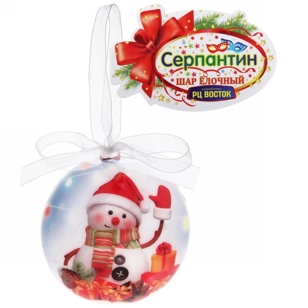 Шар новогодний 6см пластик с бантом ″Чудес и везения!″ Снеговичок купить оптом и в розницу