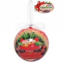 Ёлочный шар пластик с бантом 7 см ″Богатства и процветания!″ Яблочный праздник купить оптом и в розницу