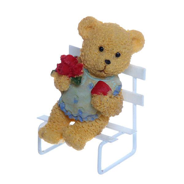 Фигурка ″Мишутка на скамейке с цветочком″ 6см купить оптом и в розницу