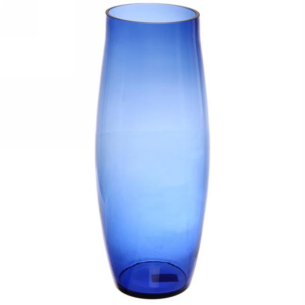Ваза стеклянная 40см синяя без декора купить оптом и в розницу