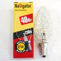 Лампа накаливания Navigator NI-TC-40Вт-230В-E14-CL прозрачн.свеча витая (10/100) купить оптом и в розницу