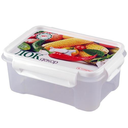 Контейнер пластиковый пищевой ″Лок декор″ 0,75л прямоугольный *20 (ПБ) 76101 купить оптом и в розницу