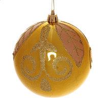 Новогодний шар ″Золотой листок″ 10см золото купить оптом и в розницу