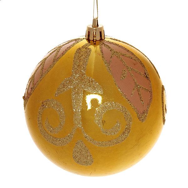 Новогодний шар ″Золотой листок″ 10см купить оптом и в розницу