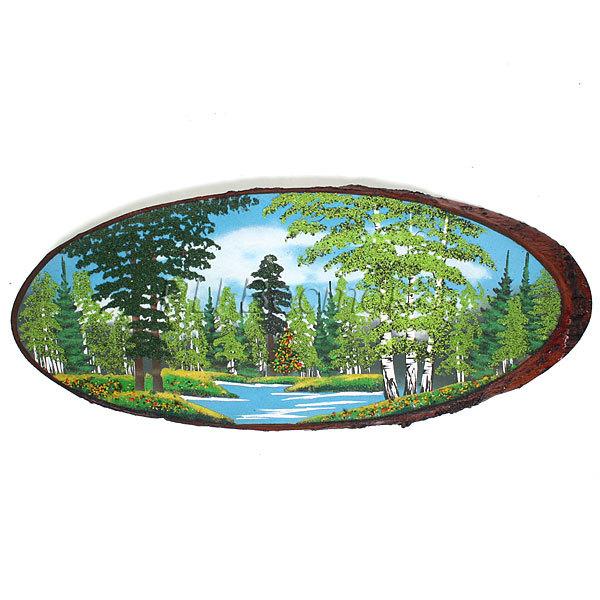 Панно из натурального камня на срезе дерева 70-74 см (Р) купить оптом и в розницу