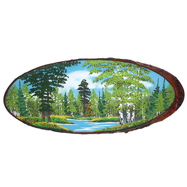 Панно из натурального камня на срезе дерева 70-74 см купить оптом и в розницу
