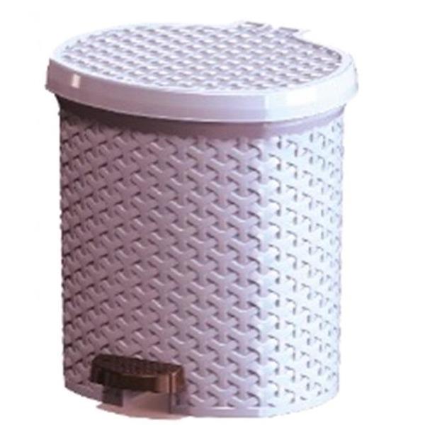 Контейнер педальный для мусора плетеный 12 л  (белый ) *6 290х285х325 купить оптом и в розницу