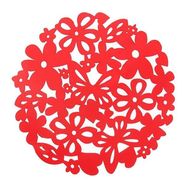 Салфетка на стол 32см Ажурная, Бабочки в цветах купить оптом и в розницу