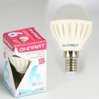 Лампа светодиодная ОНЛАЙТ ОLL-G45-6-230-4K-E14 (10/100) купить оптом и в розницу
