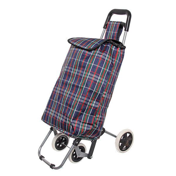 Тележка хозяйственная с сумкой (96*36*33см, 4 колеса, грузоподъемность до 30 кг) ST-841FA клетчатая купить оптом и в розницу