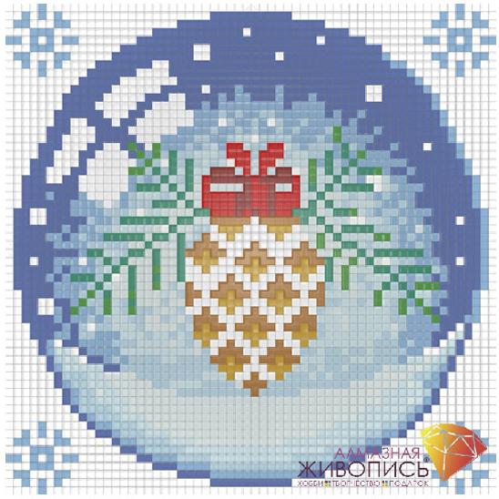 Набор ДТ Картина стразами Новогодний шарик с шишкой АЖ-1256 купить оптом и в розницу