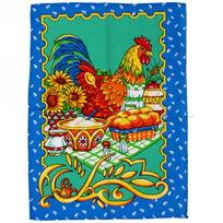 Полотенце вафельное 45*60см ″Петухи″ синее купить оптом и в розницу