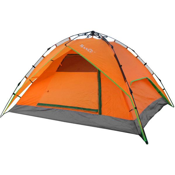 Палатка туристическая 3-местная 1-слойная зонтичного типа,цвет оранжевый, 210*180*135 купить оптом и в розницу